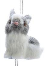 Furry Bunny Ornament Gray