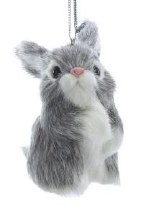 Furry Bunny Ornament Gray