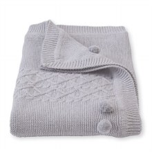 Cable Knit Blanket Gray