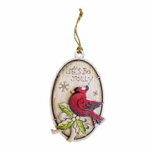 Oval Wooden Cardinal Ornament