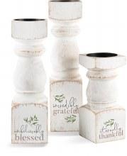 Candlesticks Grateful Set of 3