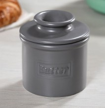 Butter Bell Crock Matte Gray