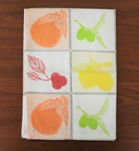 Dish Towel White with Fruit