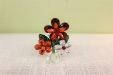 3  Flower Post Pot Orange/Red/Clear