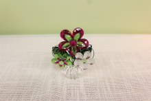 3 Flower Posy Pot Green/Hot Pink/Clear