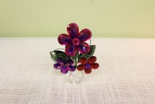 3 Flower Post Pot Purple/Hot Pink/Red