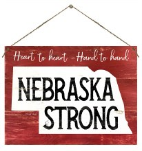 Nebraska Strong Door Hanger Red