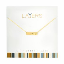 Layers Necklace Gold Believe Tag