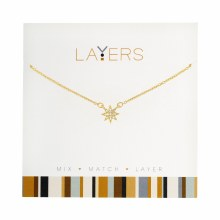 Layers Necklace Gold CZ Starburst