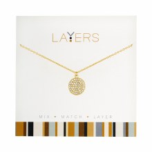 Layers Necklace Gold Round Cz