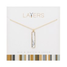 Layers Necklace Gold Rectangle Granite