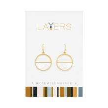 Gold Half Stone Circle Dangle Layers Earrings - 1 pair
