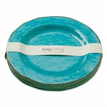 Melamine Salad Plate S/4 Aqua