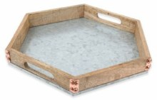 Mango Wood Tray Galvanized Hexagon