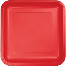"Luncheon 7"" Square Paper Plate 18 Ct. Red"