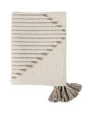 Diamond Stripe Tassel Throw Taupe