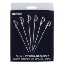 Metalla Sword Martini Picks Set of 6