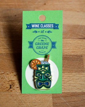 Green Tiki Enamel Pin