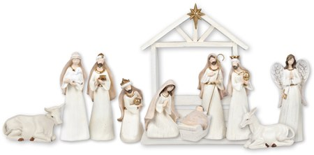 White and Gold Trim Nativity with Stable