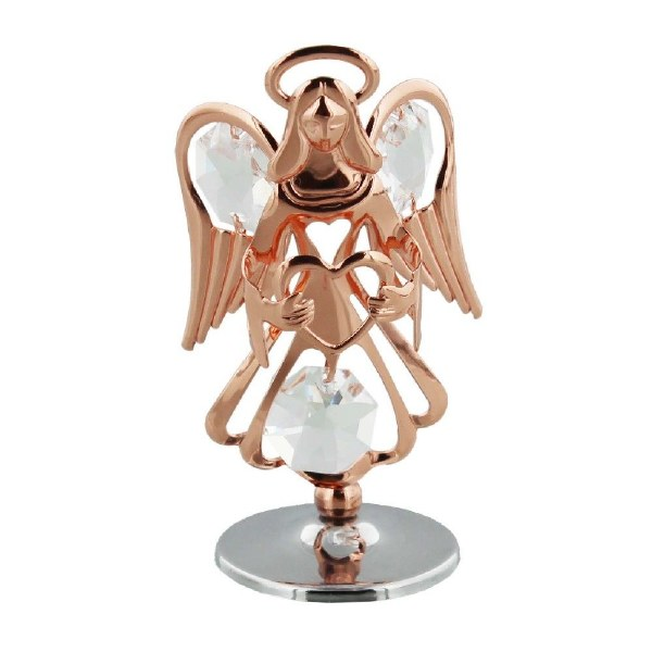Rose Gold Guardian Angel with Crystals
