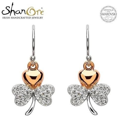 Sterling Silver Shamrock Swarovski Crystal Earrings