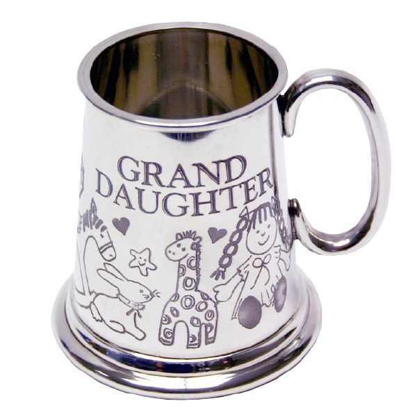 Silver Plated Grand Daughter Pewter Baby Mug
