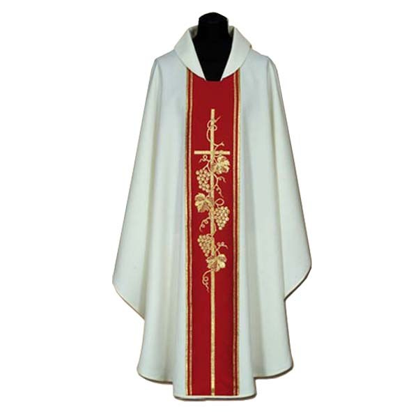 Chasuble with Red orphrey and Cross and Grapes
