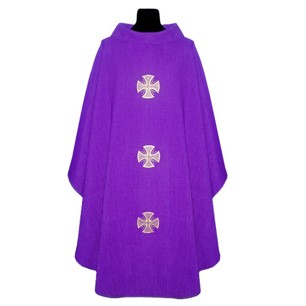Purple Chasuble with Embroidered Crosses