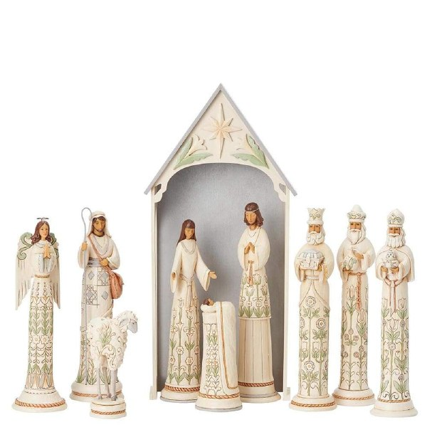 Heartwood Creek White Woodland 10 Piece Nativity Set (Limited Edition Masterpiece)
