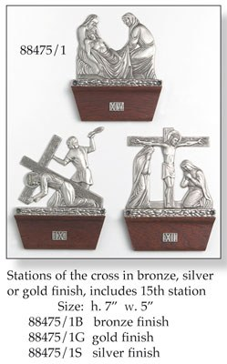 Silver Set of Stations of the Cross (17.7cm x 12.7cm)