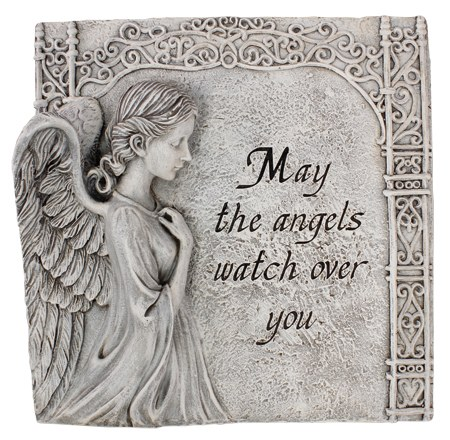 48400 May  Angels Watch Over You Grave Plaue 28cm