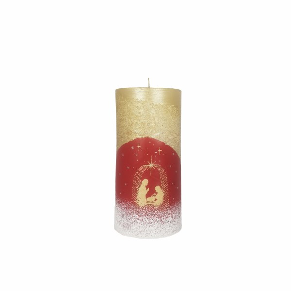 Gold and Red Nativity Star Nativity Candle (15 x 7cm)