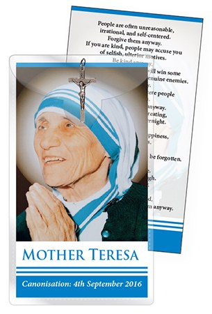 Mother Teresa Crucifix and Leaflet