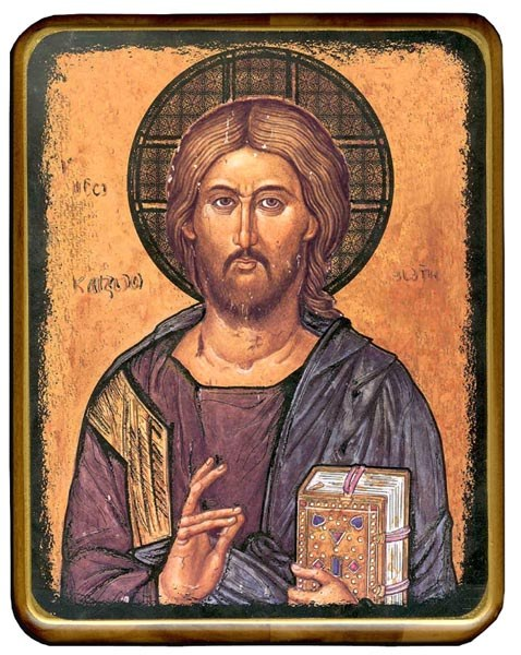 Christ the Teacher Icon on walnut Wood  (31 x 37cm)