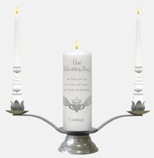 White Claddagh Wedding Candle Boxed Set