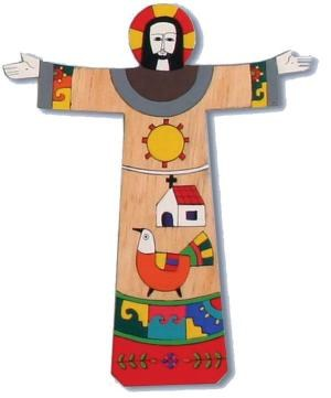 Risen Christ Hand Painted Cross (28cm)