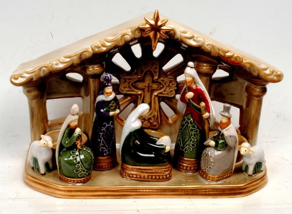 One Piece Ceramic Nativity Set (19cm)