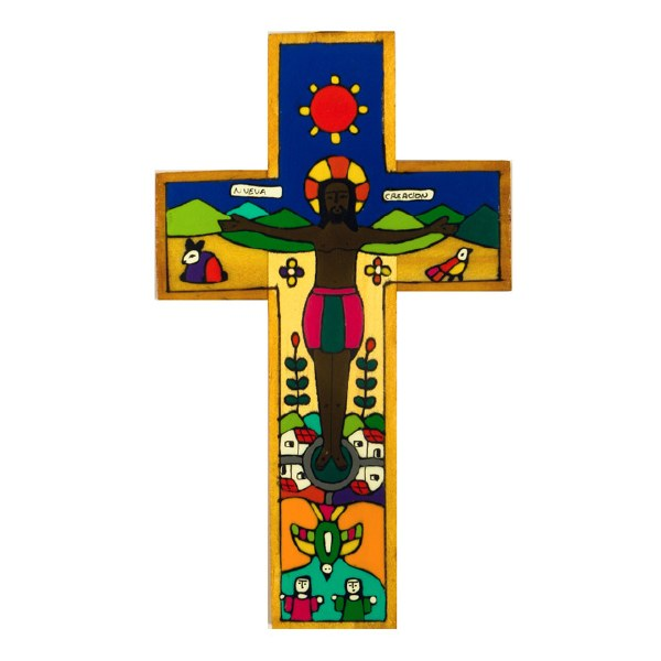 New Creation Hand Painted Wooden Cross (38cm)