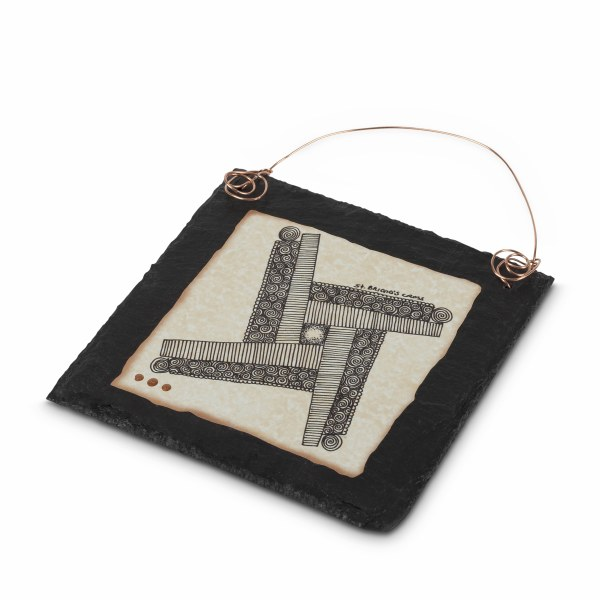 St Brigids Cross Doodle Art on Slate with Copper w