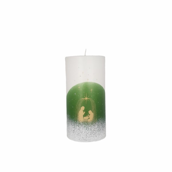 Green and White Star Nativity Candle (15 x 7cm)