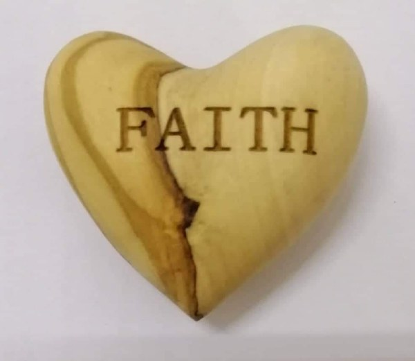 Faith Olive Wood Heart