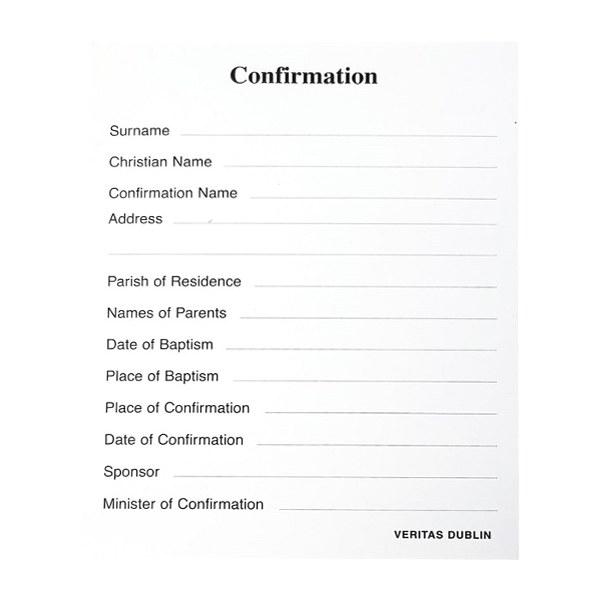 Confirmation Registration Card  100 Pack
