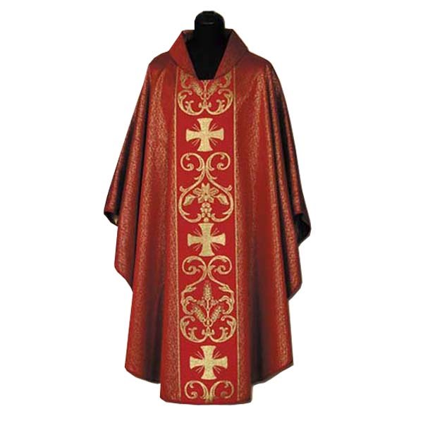 Dark Red Chasuble with Gold Crosses Design