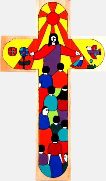 Christ of All Nations Hand Painted Wooden Cross (25cm)