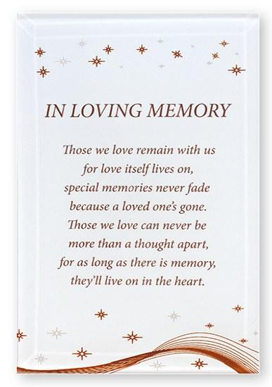 In Loving Memory Glass Plaque