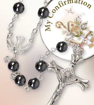 Glass Hematite Confirmation Rosary with Presentation Box