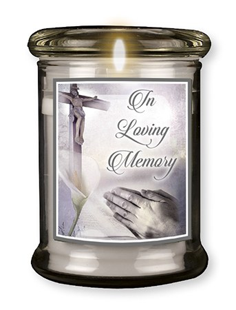 Hands in Loving Memory LED Glass Candle
