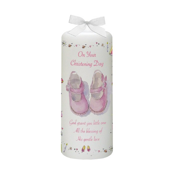Pink Stars and Hearts Christening candle 15cm