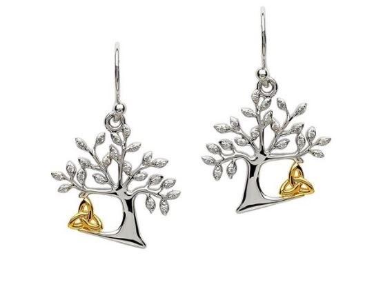 Sterling Silver Tree Of Life Trinity Earrings