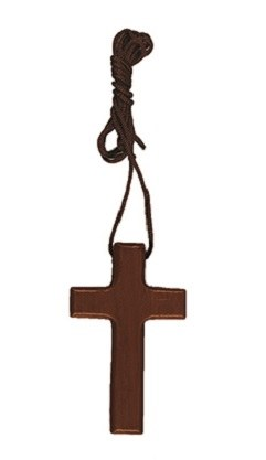 Wood cross with cord (4cm)